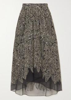 Brunello Cucinelli Sequin-embellished Embroidered Silk-chiffon Maxi Skirt