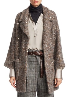 Brunello Cucinelli Sequin Mohair-Blend Coat