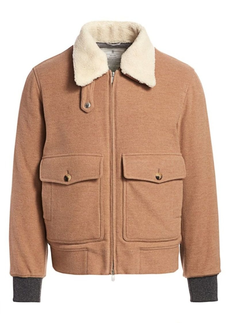Brunello Cucinelli Shearling Collar Aviator Jacket