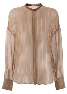 Brunello Cucinelli sheer mandarin collar shirt