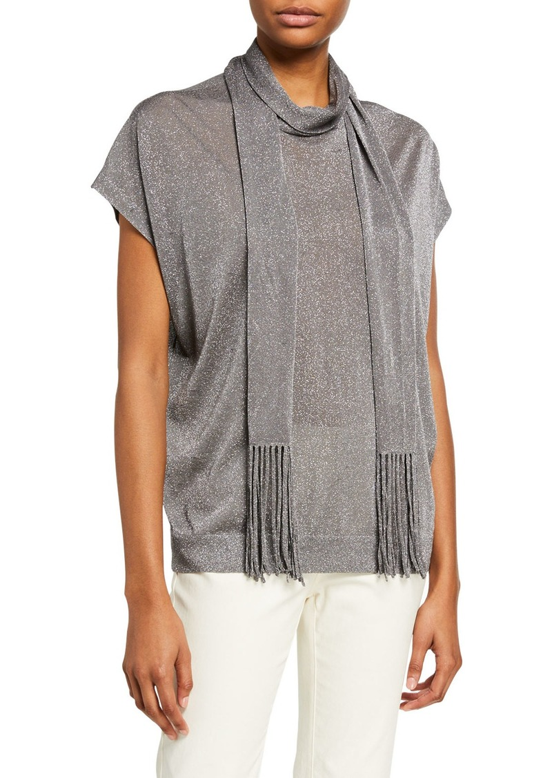 Brunello Cucinelli Shimmer Knit Tunic with Fringed Scarf
