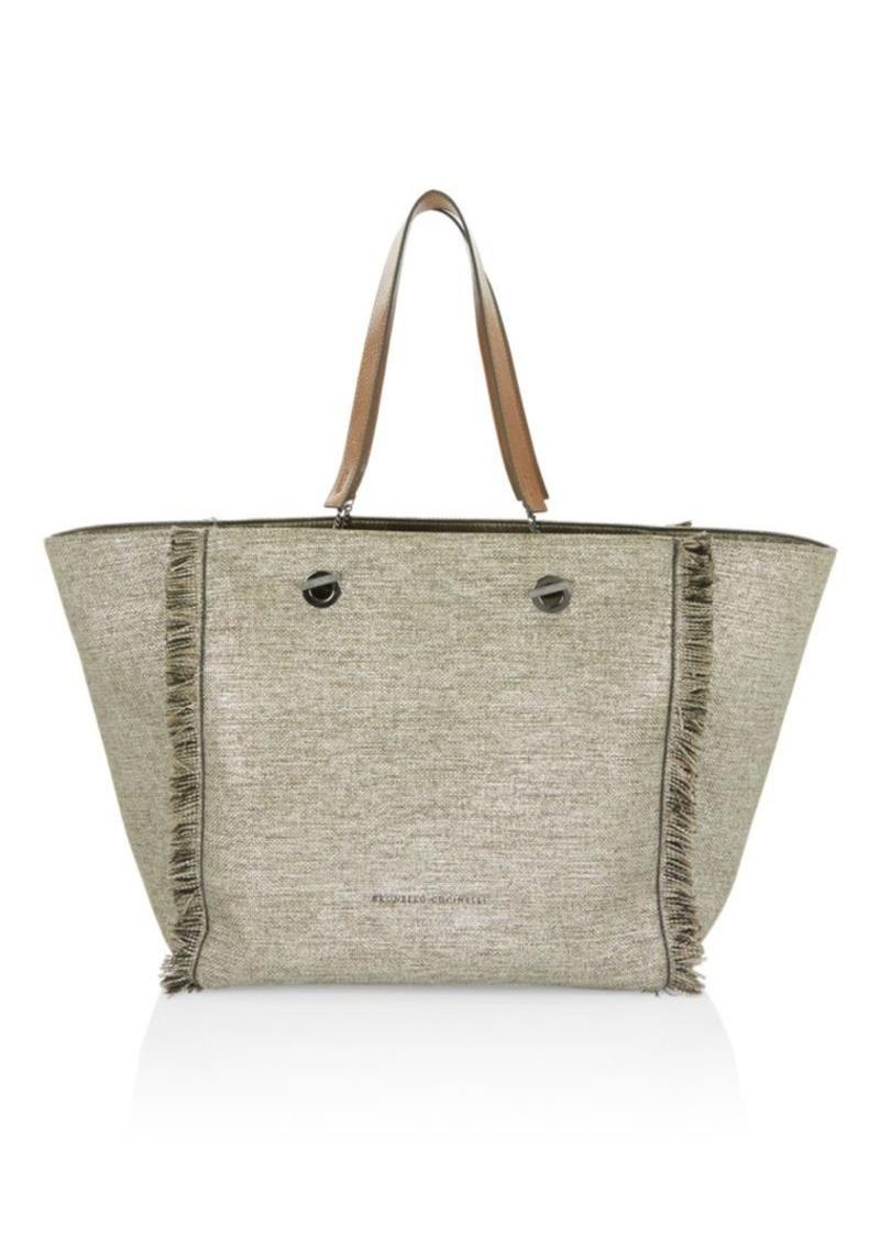 01041762c6a Brunello Cucinelli Shiny Canvas Fringed Shopper | Handbags