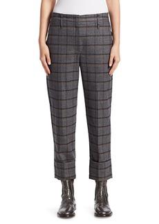 Brunello Cucinelli Shiny Windowpane Wide-Leg Pants