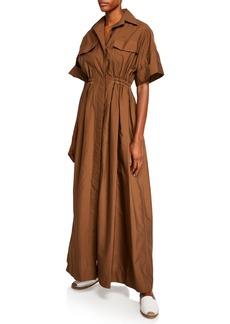 Brunello Cucinelli Short-Sleeve Crinkled Cotton Shirtdress