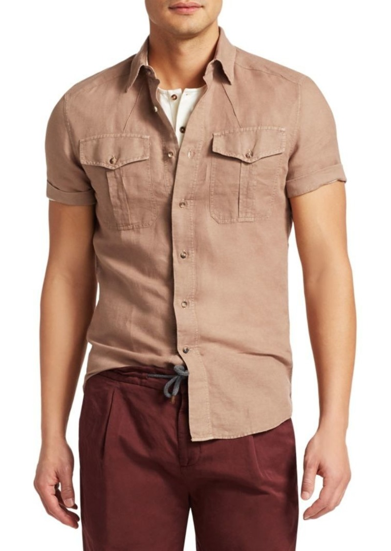 Brunello Cucinelli Short-Sleeve Linen Button-Down Shirt