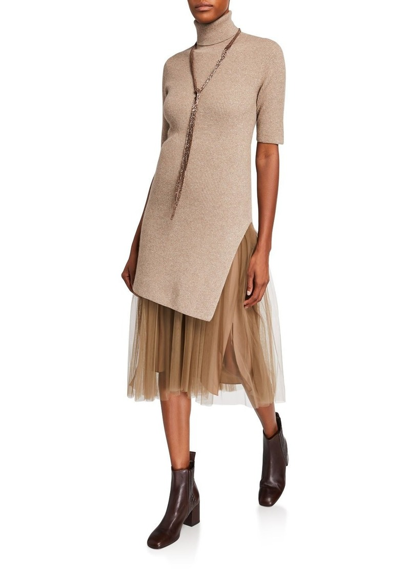 Brunello Cucinelli Short-Sleeve Metallic Ribbed Tunic Dress