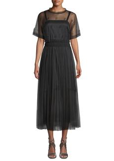 Brunello Cucinelli Short-Sleeve Pleated Crystal-Embellished Lace Illusion Dress
