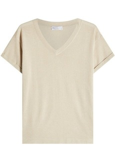 Brunello Cucinelli Short Sleeved Pullover with Cashmere and Silk