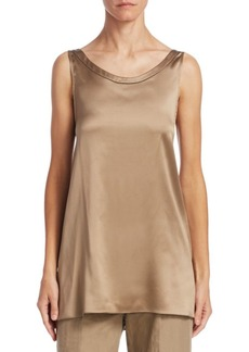 Brunello Cucinelli Silk Hi-Lo Tank Top