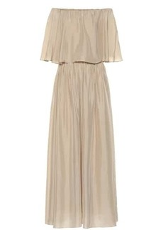 Brunello Cucinelli Silk off-the-shoulder dress