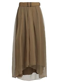 Brunello Cucinelli Silk Raffia Belted High-Low Skirt