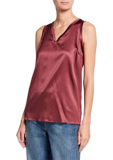 Brunello Cucinelli Silk Satin V-Neck Tank