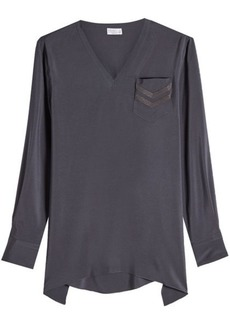 Brunello Cucinelli Silk Top with Embellishment