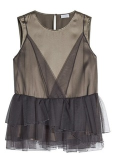 Brunello Cucinelli Silk Top with Tulle