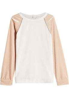 Brunello Cucinelli Silk Top with Velvet Sleeves