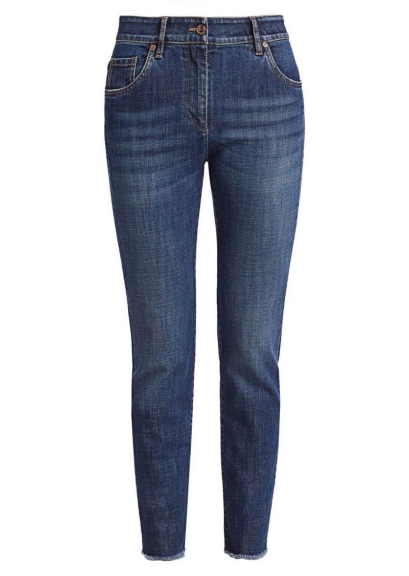 Brunello Cucinelli Skinny Fray-Hem Jeans