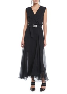 Brunello Cucinelli Sleeveless Belted Silk Wrap Cocktail Dress w/ Chiffon Bottom