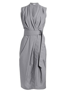 Brunello Cucinelli Sleeveless Crinkle Belted Midi Dress