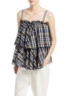 Brunello Cucinelli Sleeveless Dark Plaid-Cotton Tiered Top with Monili Straps