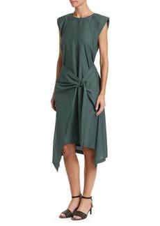 Brunello Cucinelli Sleeveless Gathered D-Ring Midi Dress