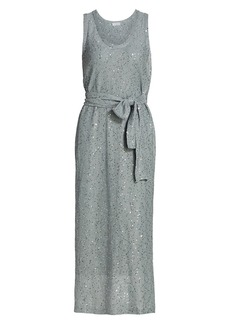 Brunello Cucinelli Sleeveless Paillette Linen & Silk Midi Dress