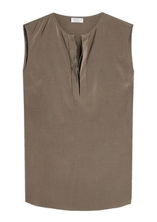 Brunello Cucinelli Sleeveless Silk Blouse with Embellishment