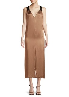 Brunello Cucinelli Sleeveless V-Neck Midi Dress