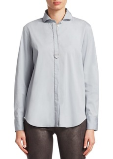 Brunello Cucinelli Spread Collar Poplin Button-Down Blouse