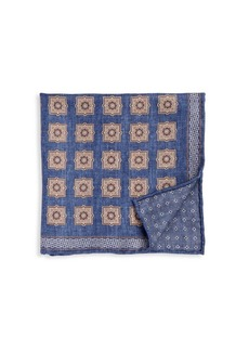 Brunello Cucinelli Squares & Dot-Print Silk Pocket Square