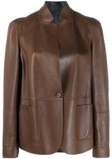 Brunello Cucinelli standing collar leather jacket