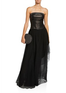 Brunello Cucinelli Strapless Chiffon Leather-Bodice Gown