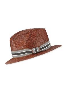 6e1feffde36 Brunello Cucinelli Straw Fedora Hat with Grosgrain Band