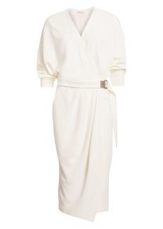 Brunello Cucinelli Stretch Silk Belted Wrap Dress
