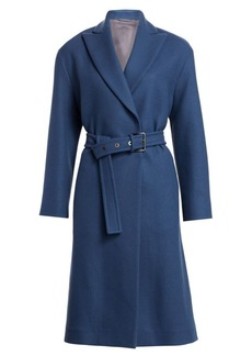 Brunello Cucinelli Stretch Wool Military Belted Coat