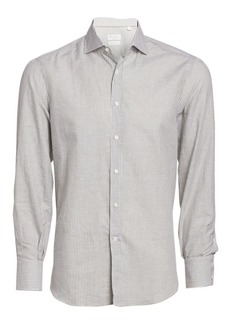 Brunello Cucinelli Stripe Linen & Cotton Shirt