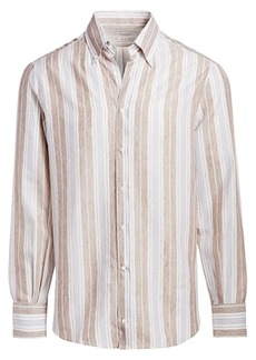 Brunello Cucinelli Stripe Linen-Blend Shirt