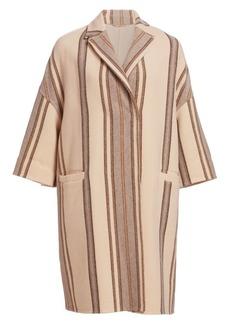 Brunello Cucinelli Stripe Virgin Wool & Cashmere Overcoat