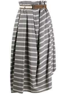 Brunello Cucinelli striped asymmetric-hem skirt