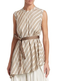 Brunello Cucinelli Striped Asymmetric Silk Top