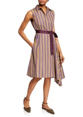 Brunello Cucinelli Striped Belted Button-Front Dress