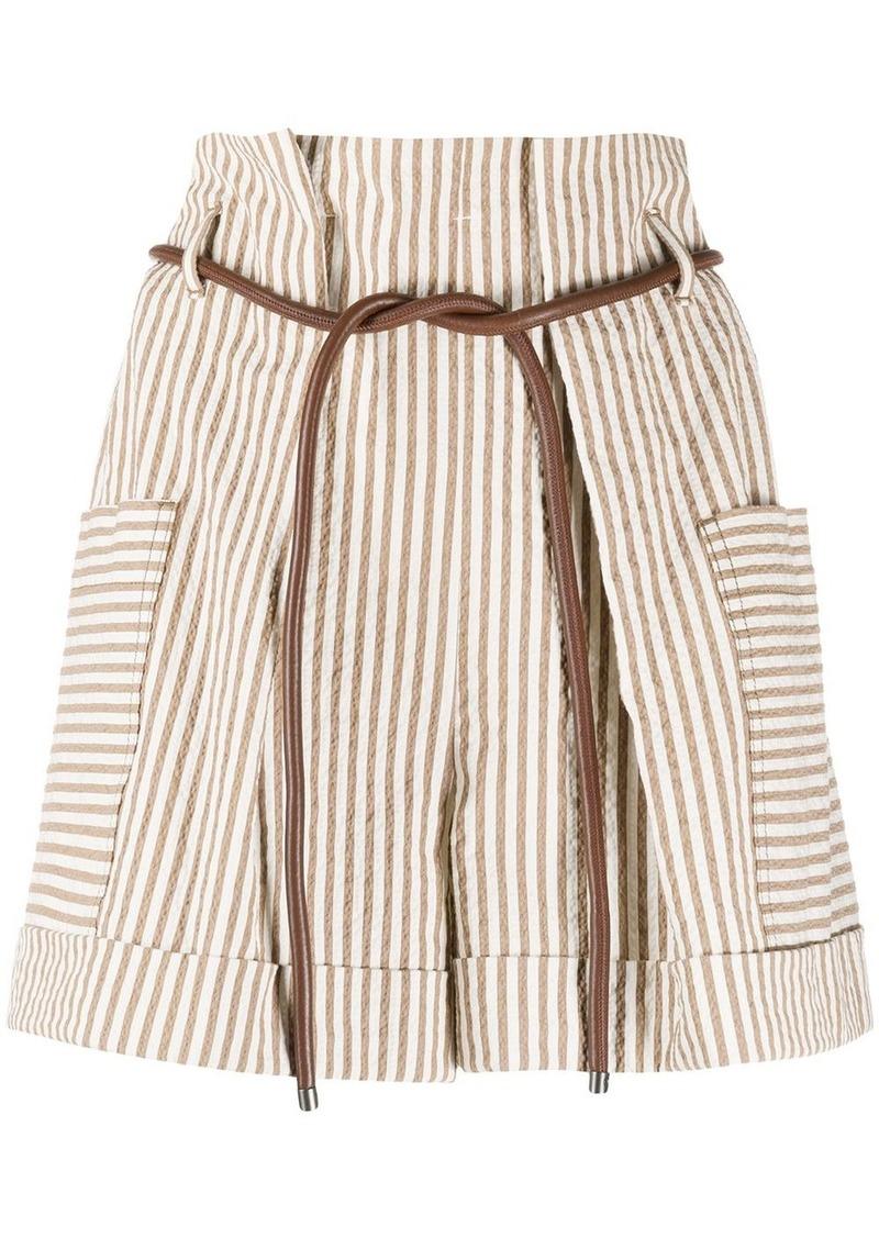 Brunello Cucinelli striped belted shorts