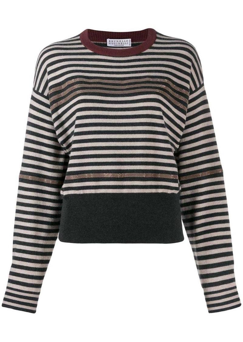 Brunello Cucinelli striped chain trim sweater