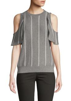 Brunello Cucinelli Striped Cold-Shoulder Sweater