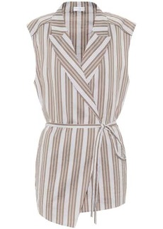 Brunello Cucinelli Exclusive to Mytheresa – Striped cotton and silk wrap shirt