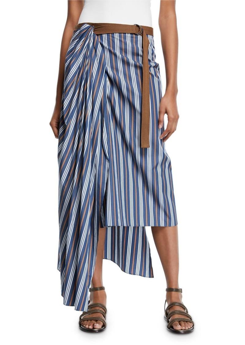 Brunello Cucinelli Striped Cotton Wrapped Midi Skirt