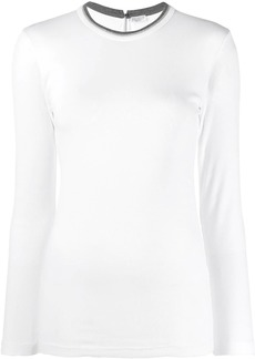 Brunello Cucinelli striped embellished neck T-shirt
