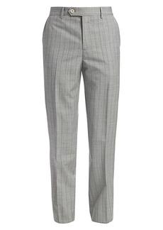 Brunello Cucinelli Striped Flat Front Virgin Wool Trousers