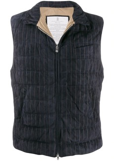 Brunello Cucinelli striped funnel-neck gilet