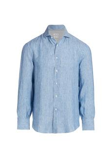Brunello Cucinelli Striped Linen-Blend Sport Shirt