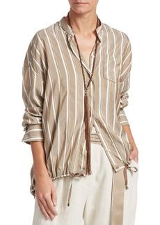 Brunello Cucinelli Striped Silk Button-Down Blouse